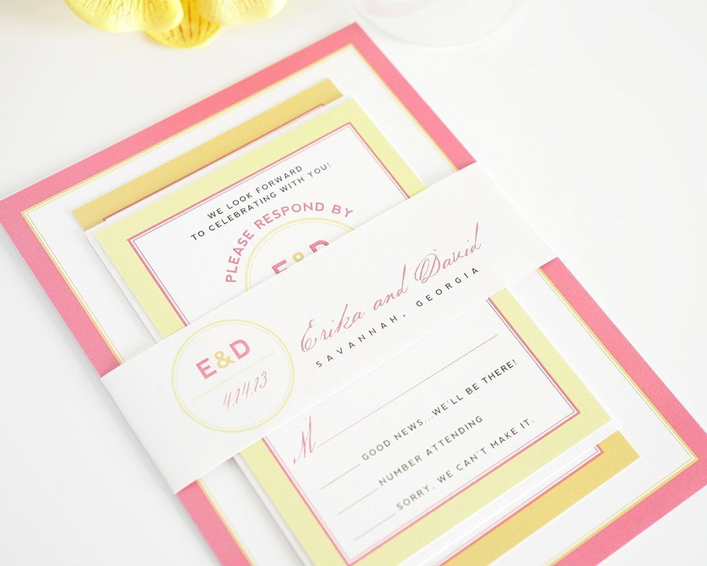 Pink and Orange and Yellow Wedding Invitations