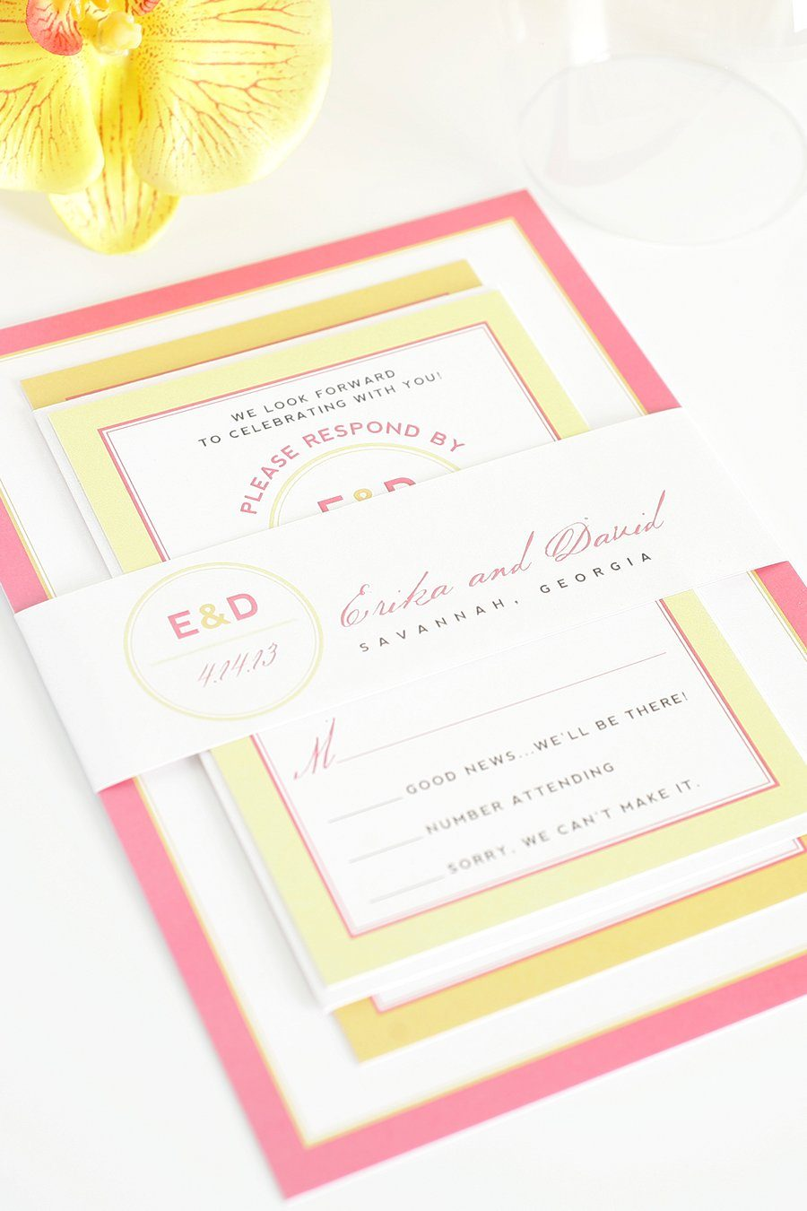 Pink and Orange Wedding Invitation with Yellow Accents