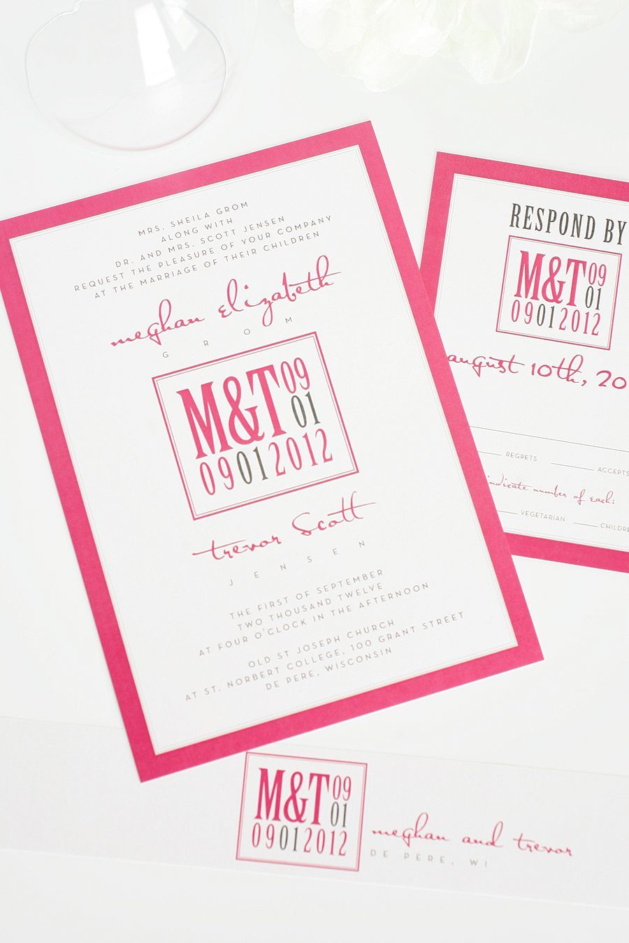 fucshia wedding invitations with gray accents