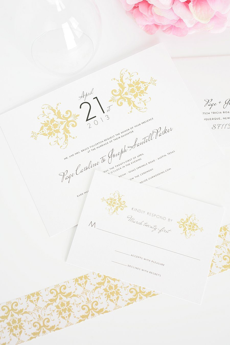 Gold wedding invitations with damask pattern