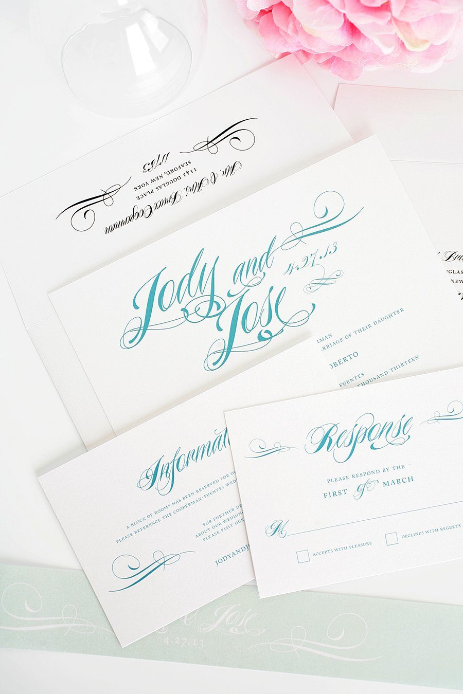 Teal Wedding Invitations with Mint Belly Band