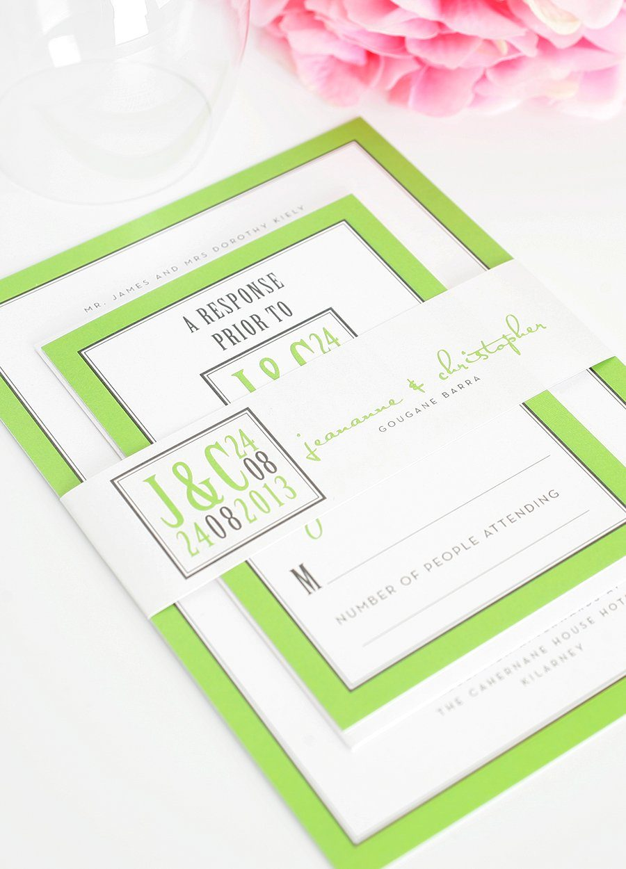 Modern Lime Green Wedding Invitations