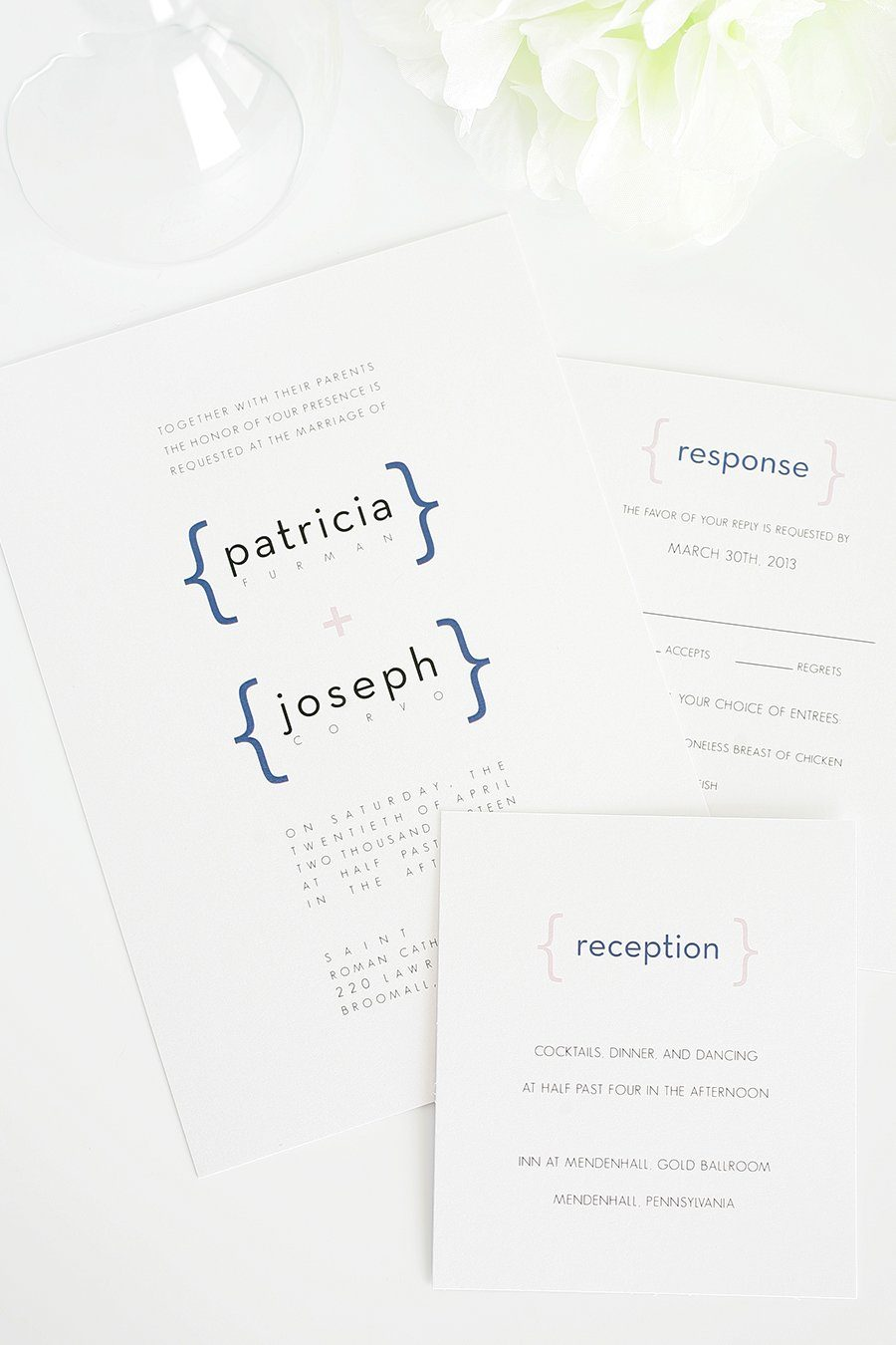 Navy and Pink Modern Wedding Invitations