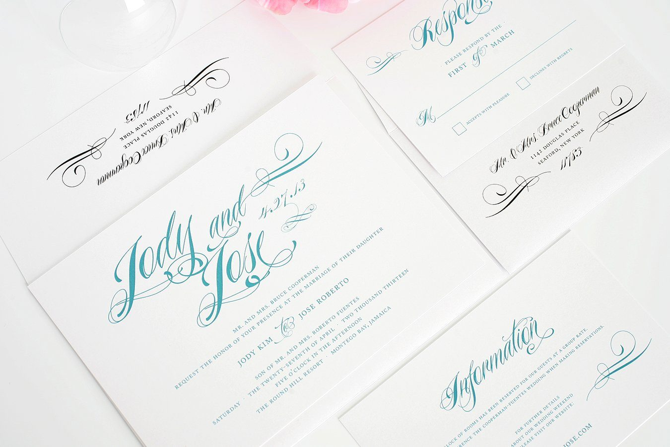 teal wedding invitations with mint accents – wedding invitations, Wedding invitations