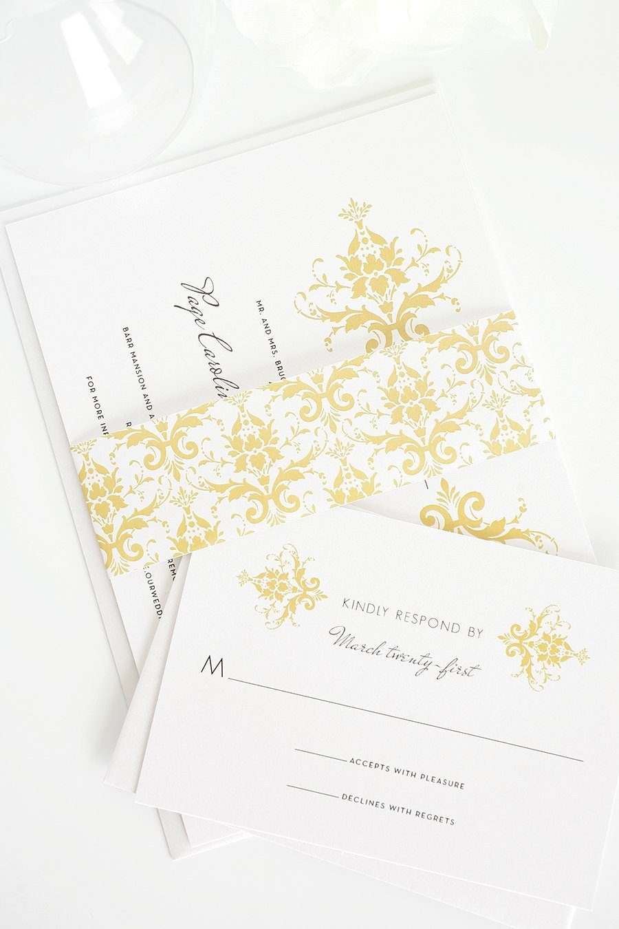 wedding invitations with gold damask