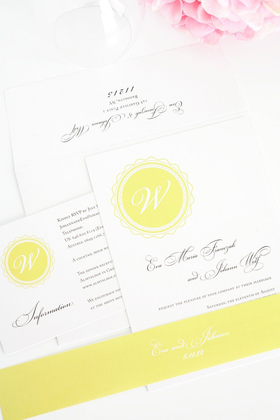 Wedding Invitations in Yellow