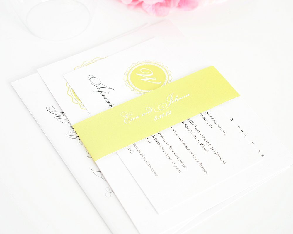 yellow wedding invitations with classic monogram – wedding invitations, Wedding invitations