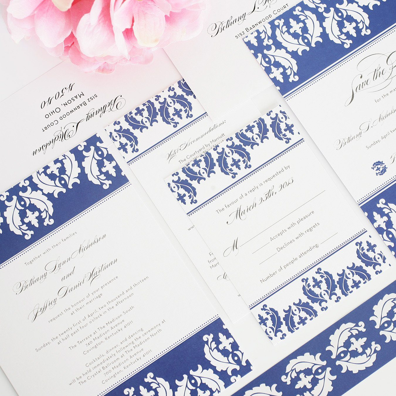 White and Blue Damask Invitations