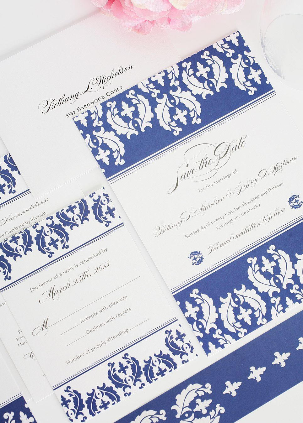 Damask Invitation in White and Blue