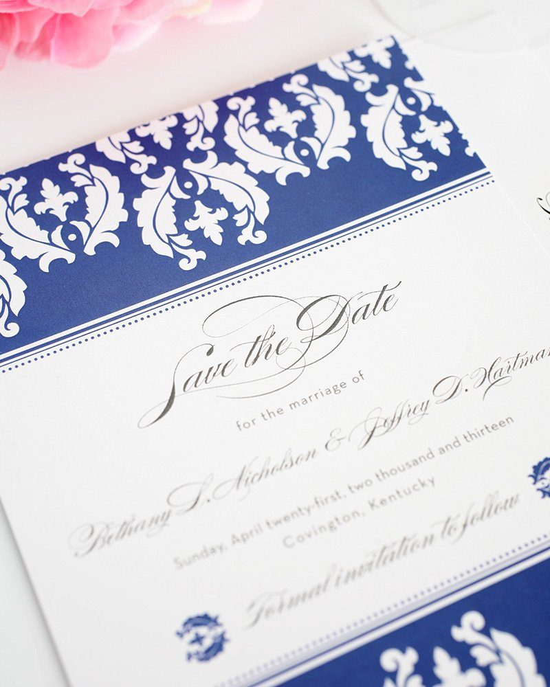 Damask Invitations In Blue And White Wedding Invitations