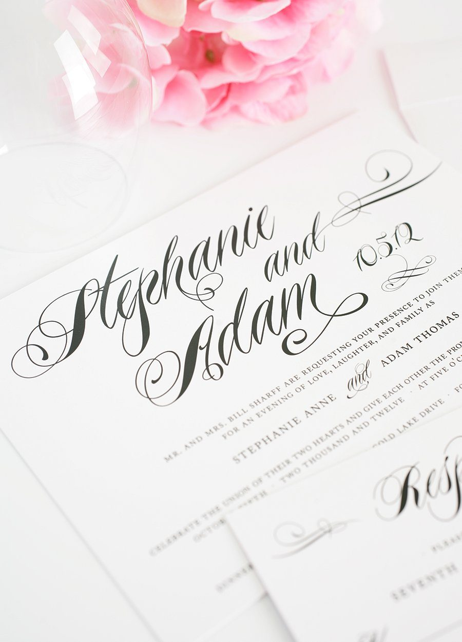 white and black wedding invitation
