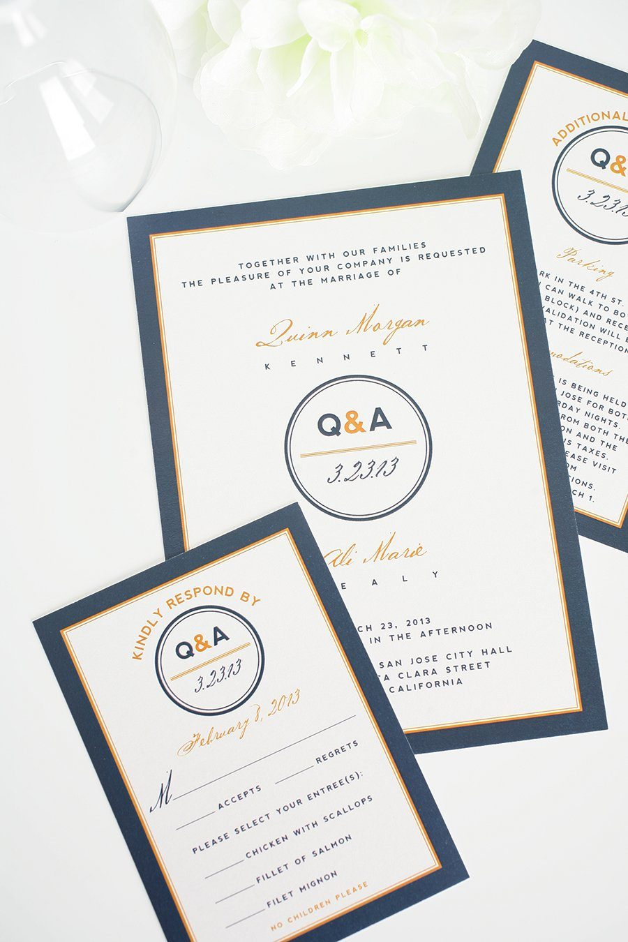 navy and orange wedding invitations