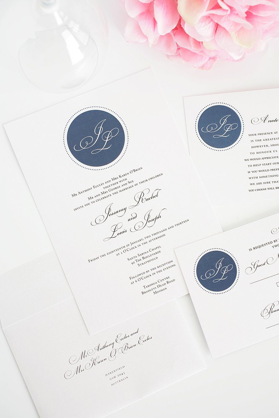 Navy Monogram Invitations