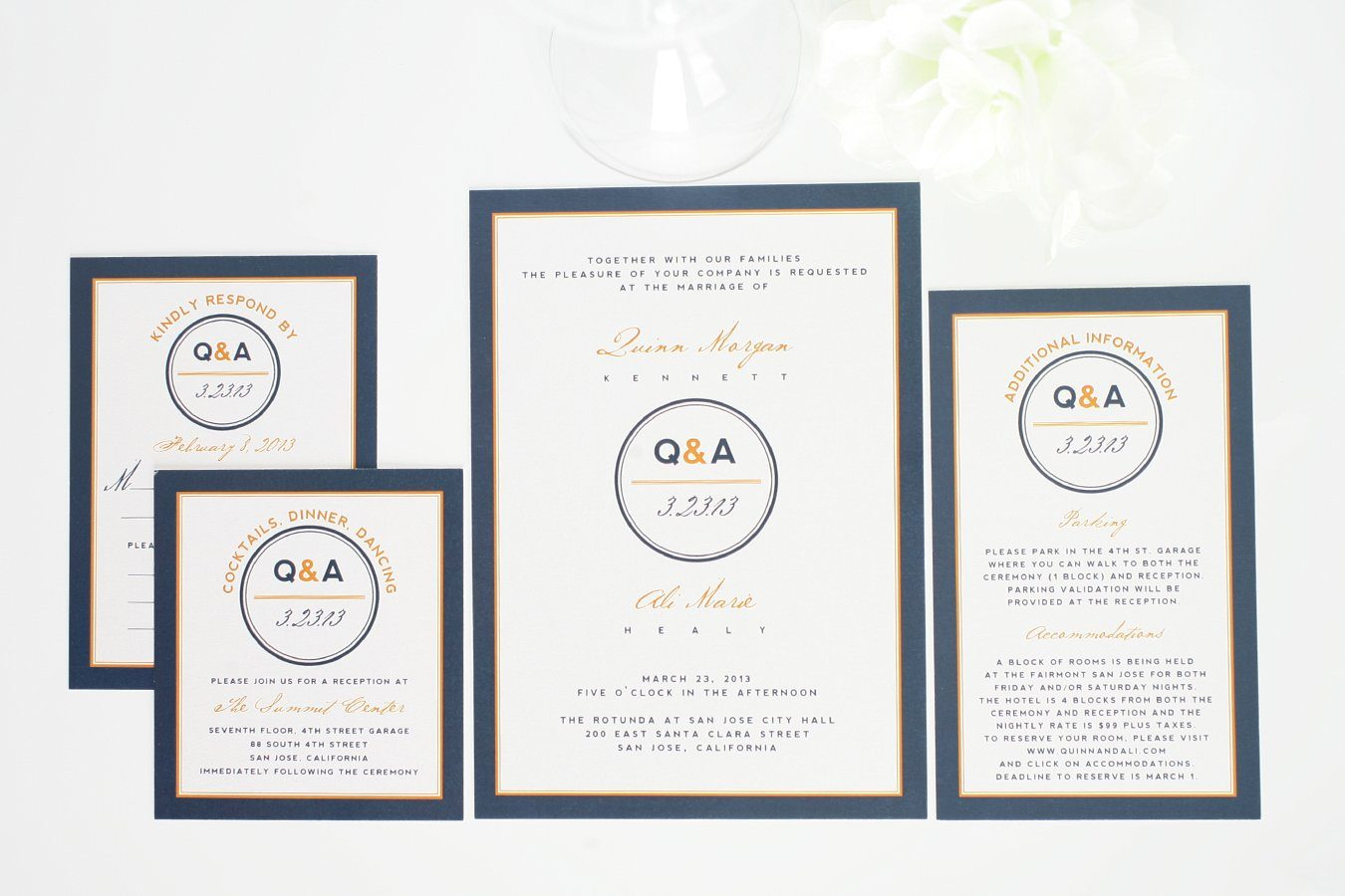 Orange And Navy Wedding Invitations