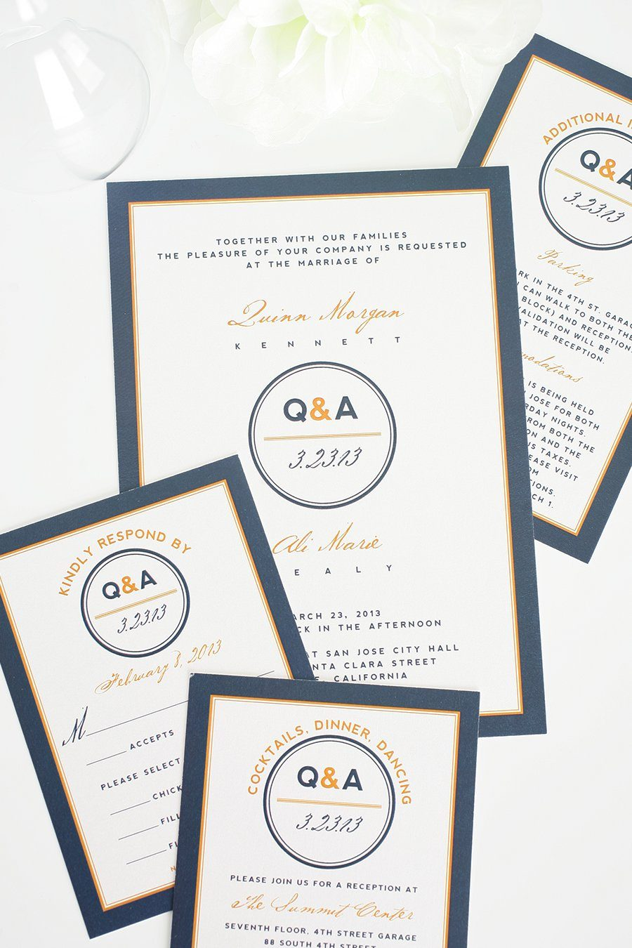 Wedding Invitations in Navy