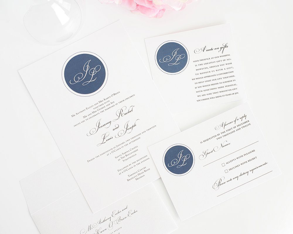 Wedding Invitation in Navy