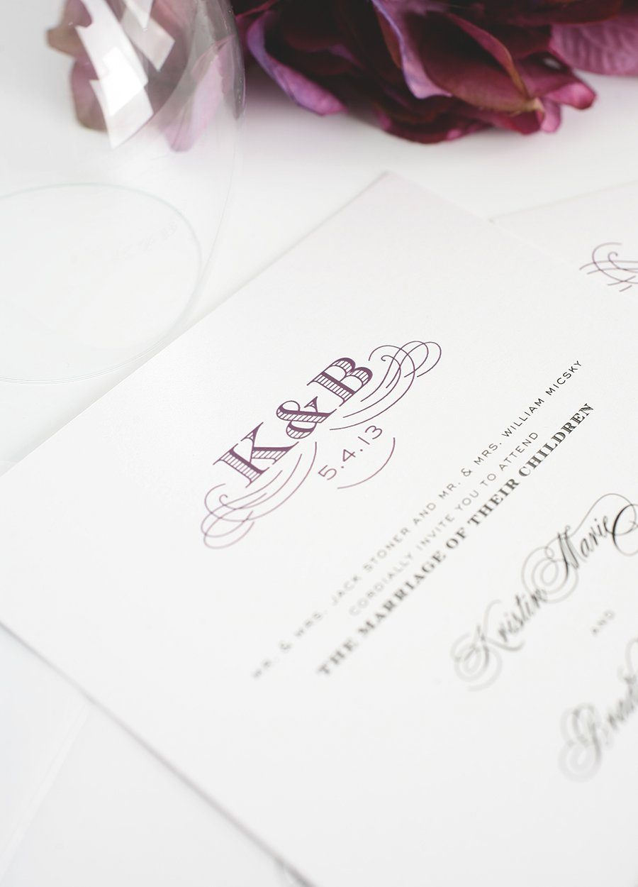 Wedding Invitation in Purple