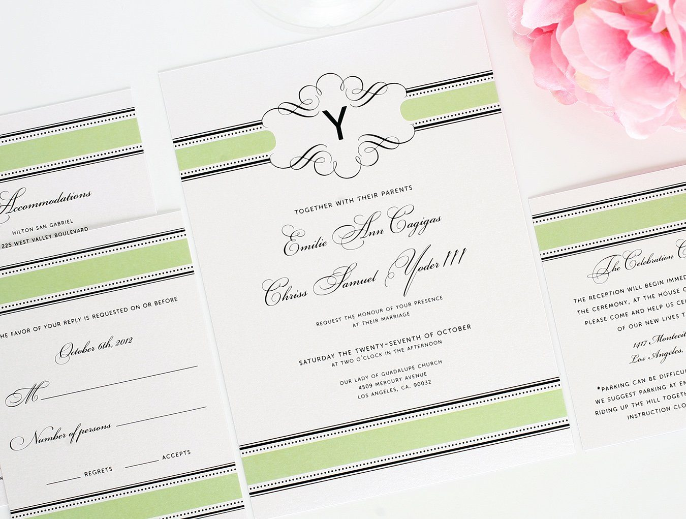 Wedding Invitations in Spring Green