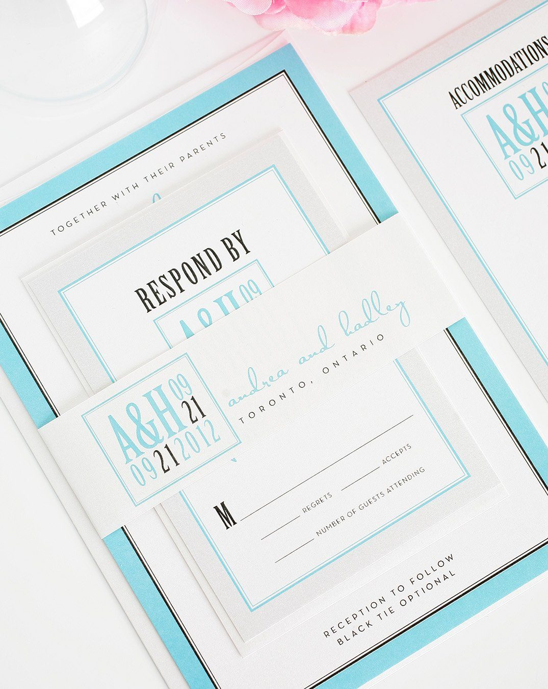 Silver and Tiffany Blue Wedding Invitation