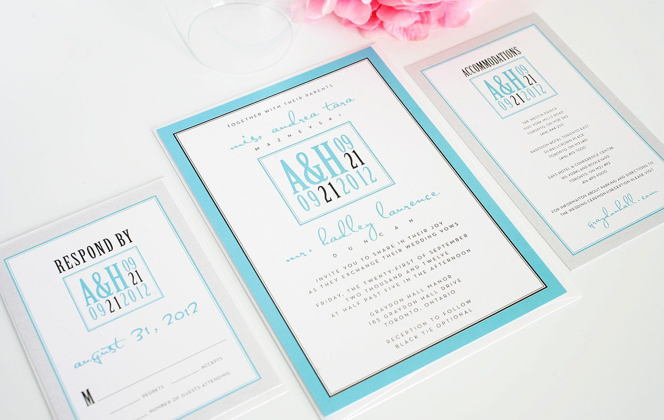Wedding invites in blue and silver