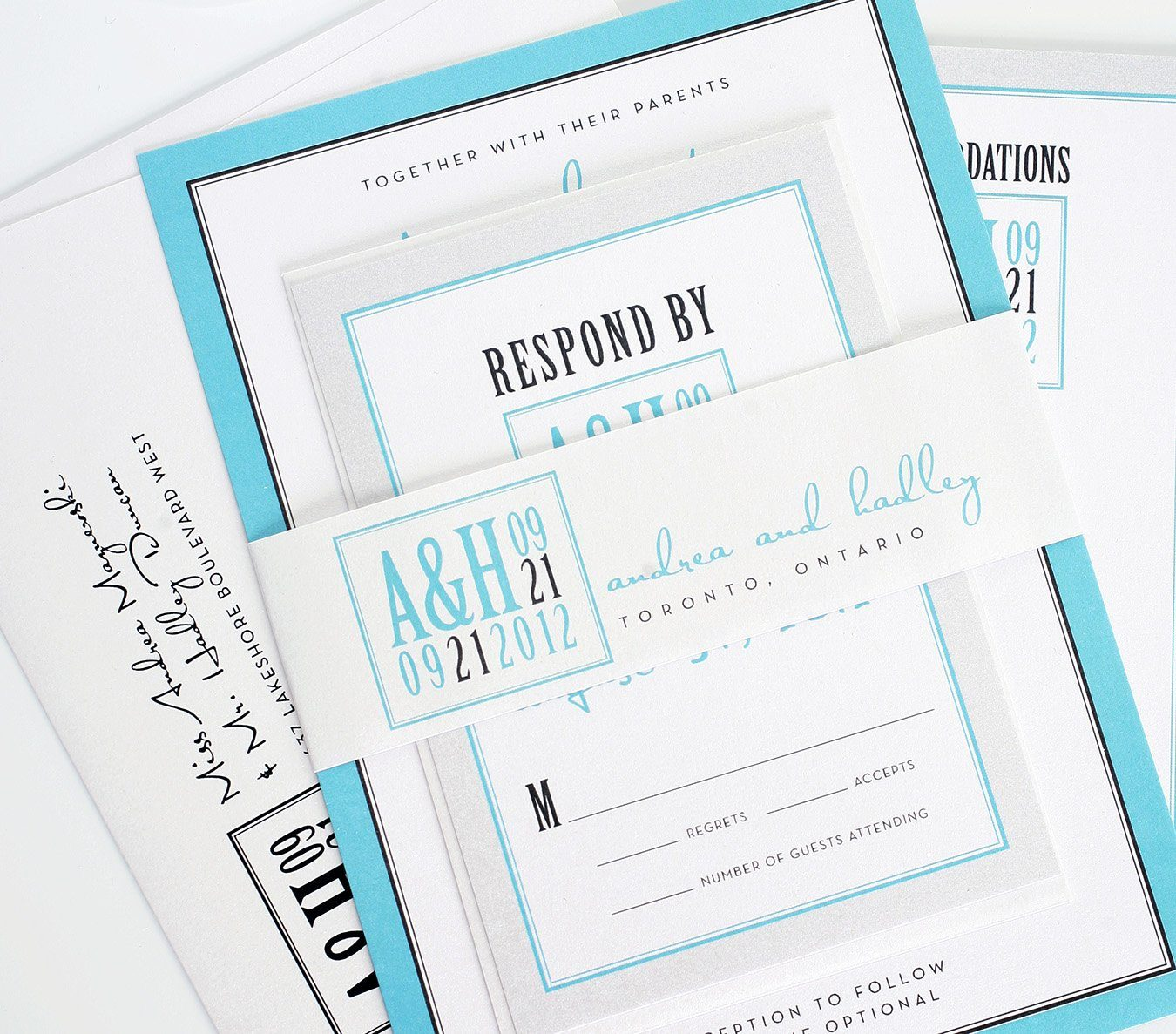 Tiffany blue and silver invitation