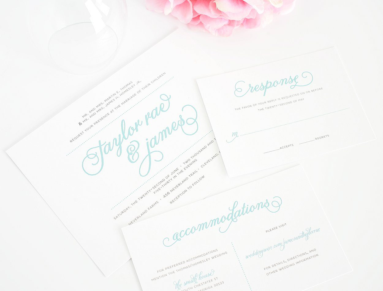 Tiffany Blue Wedding Invitations with Script Wedding Invitations
