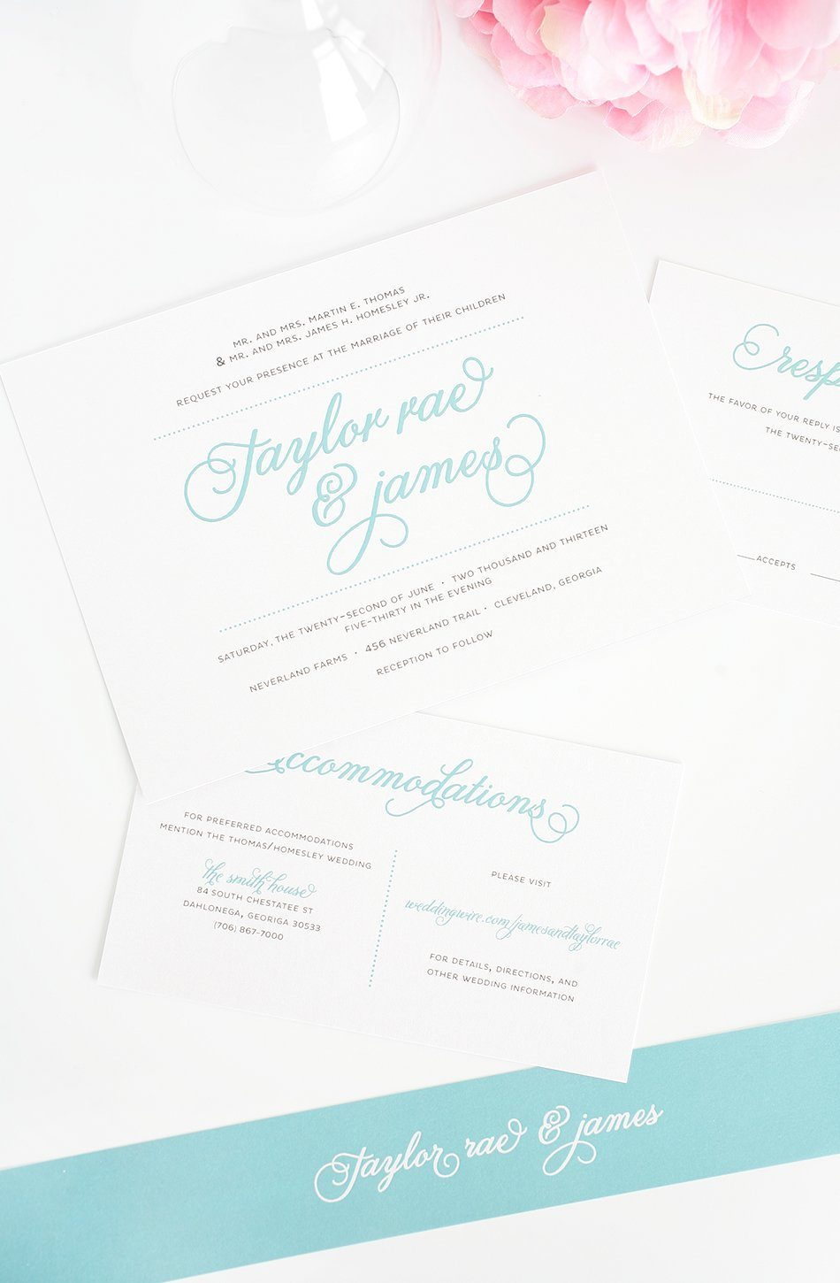 Wedding Invitation Suite In Tiffany Blue