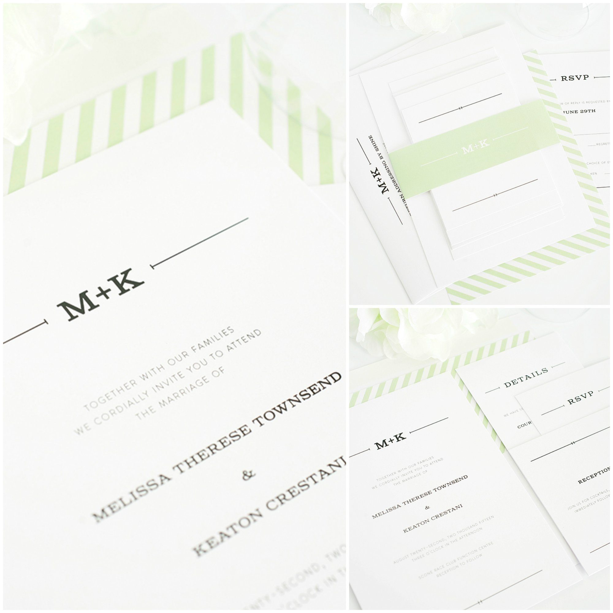 Rustic Wedding Invite Green