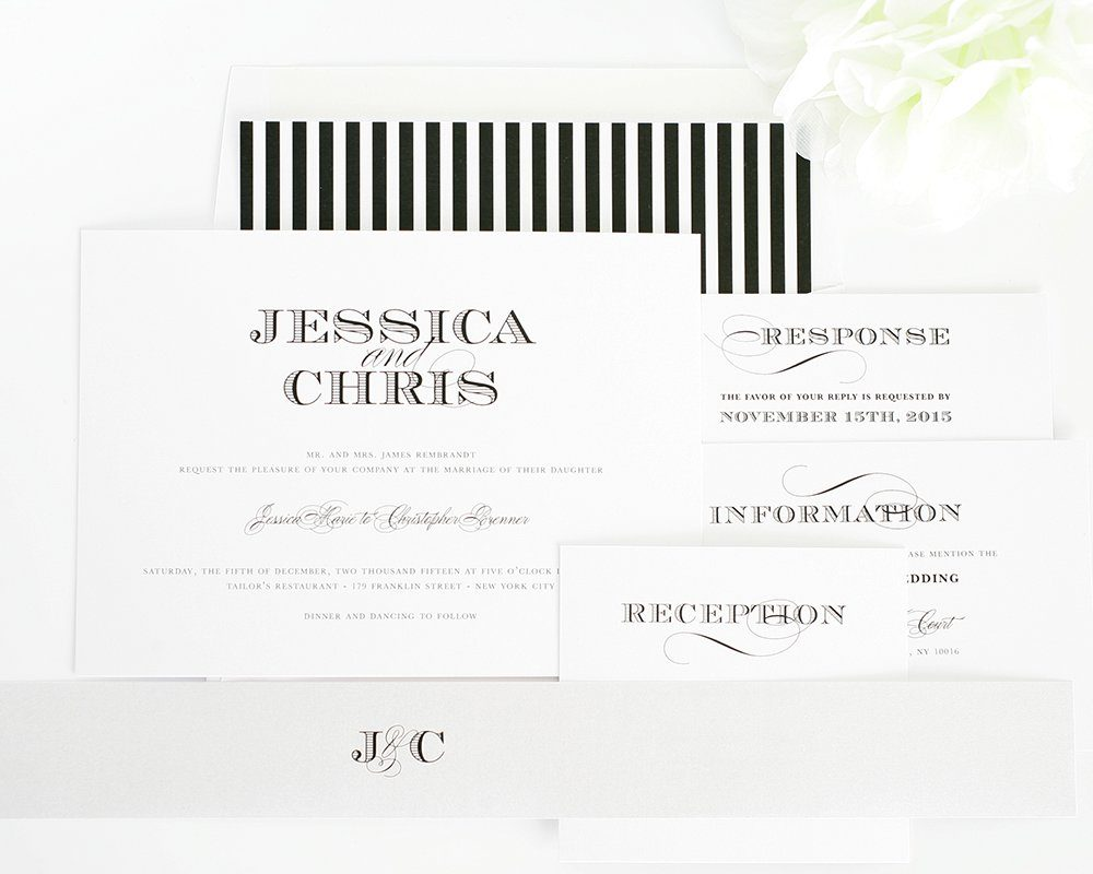 Wedding Invitations in black and silver
