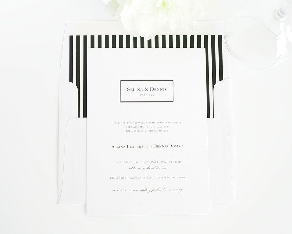 black and white wedding invitations with stripes