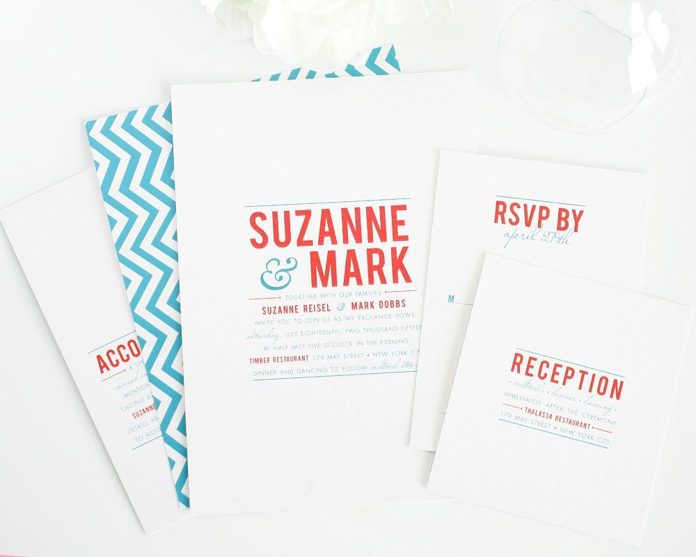 Chevron wedding invitations in blue and red