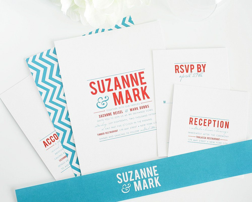Chevron wedding invitations with bold typography wedding invitations wedding invitation with chevron pattern stopboris Images