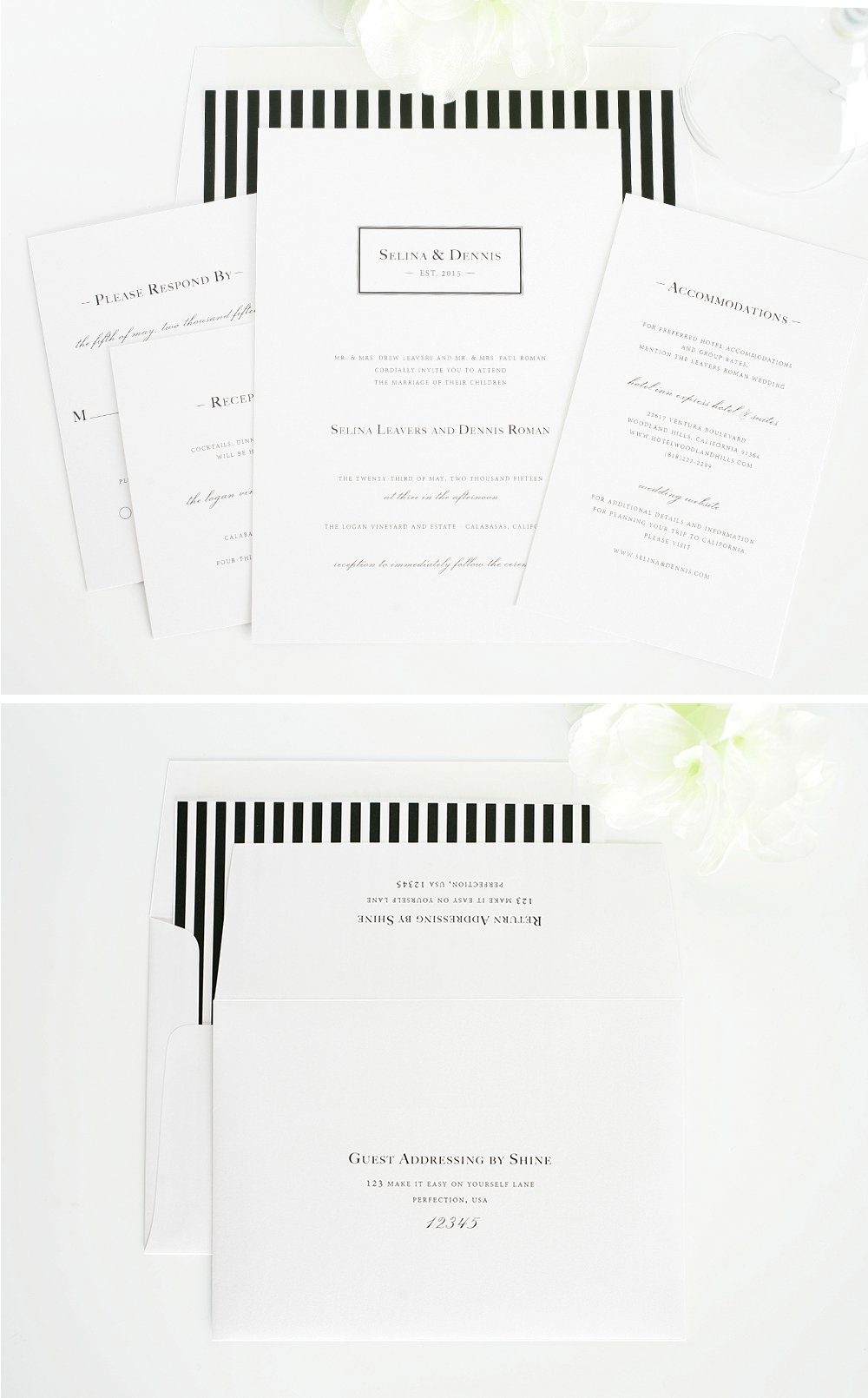 classic wedding invitations with monogram