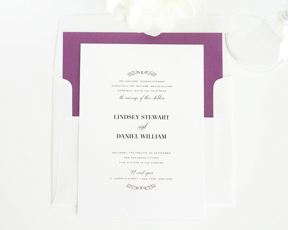 Country chic wedding invitations in dark purple