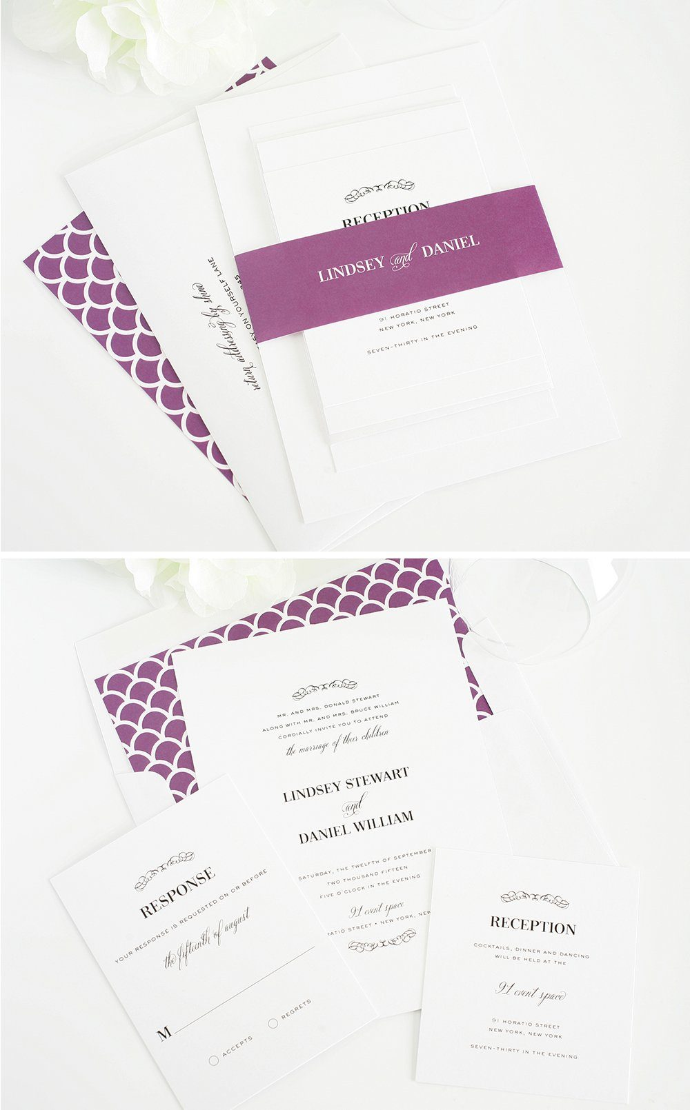 Patterned wedding invitations in purple