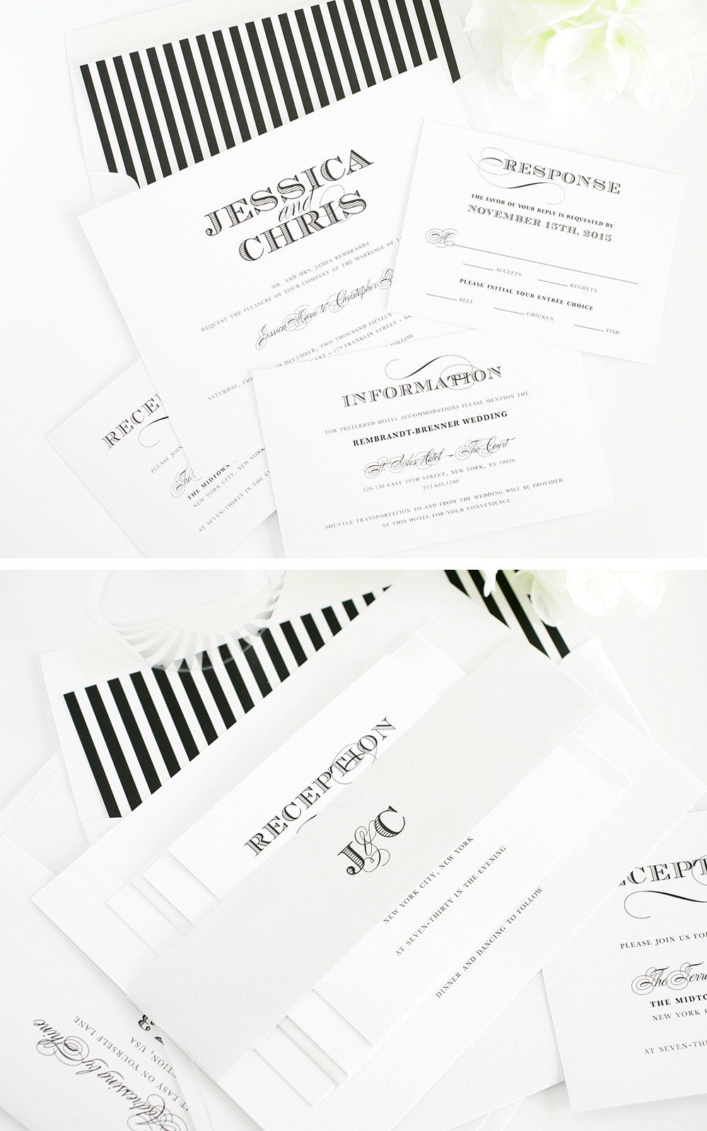 elegant wedding invitations in black and silver
