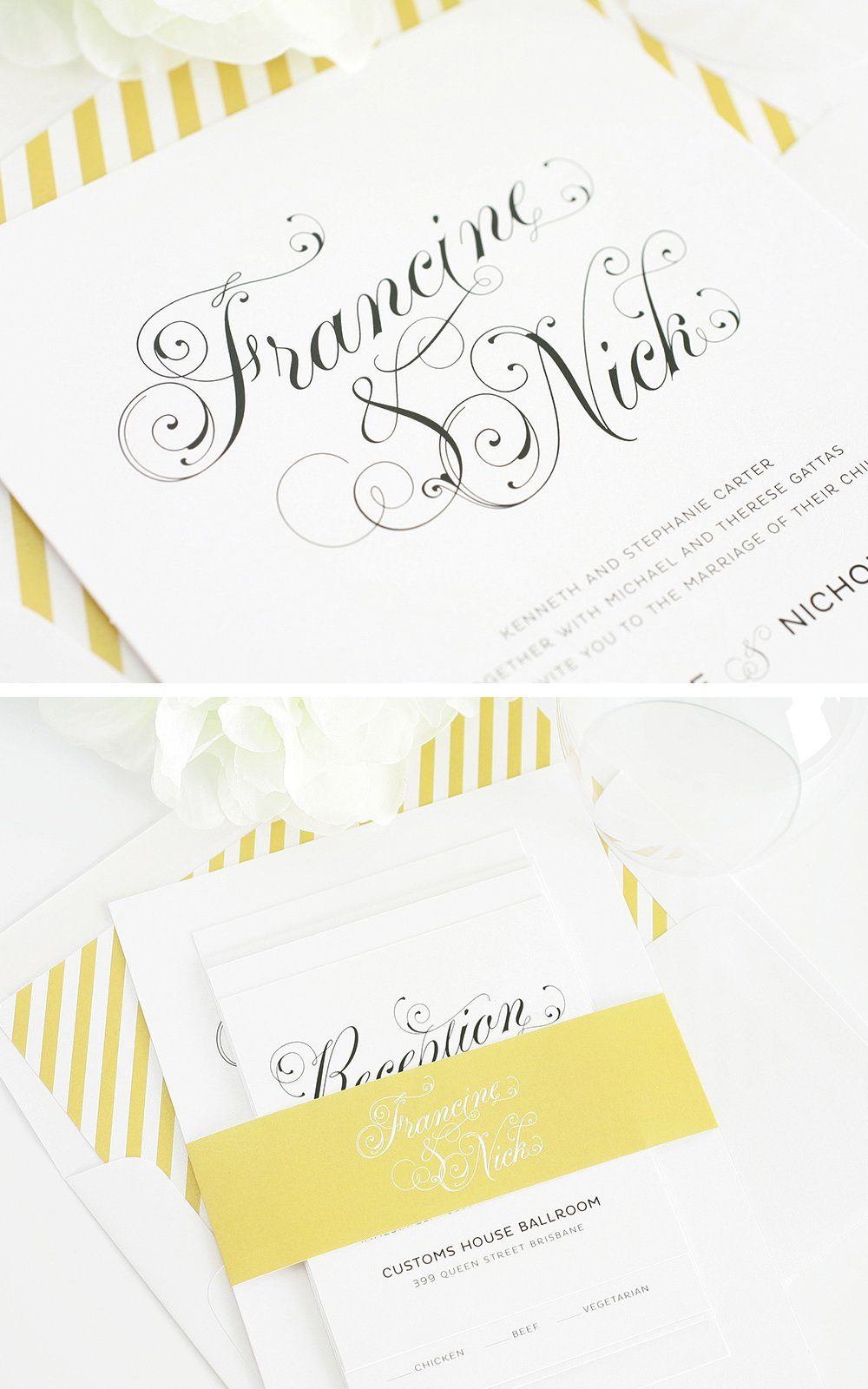 Wedding Invites in Gold