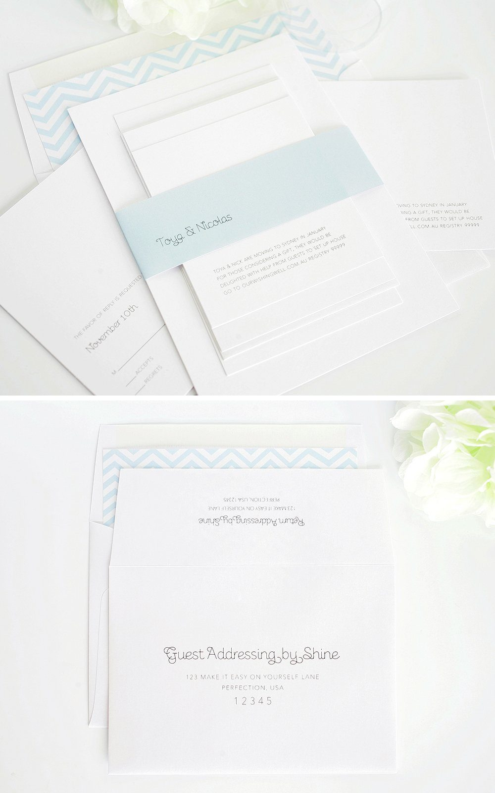 Light blue simple wedding invitations