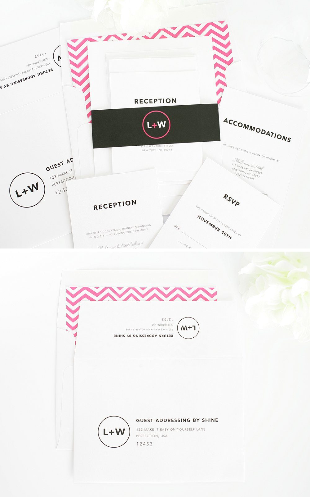 modern wedding invites in black and pink