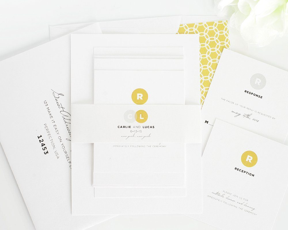 modern wedding invitations in gold