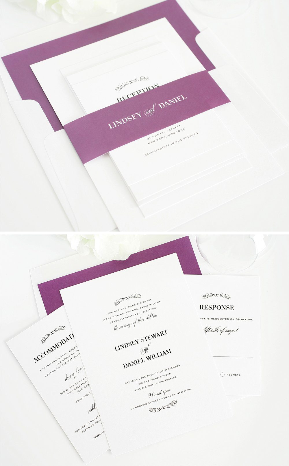 Dark purple wedding invitations with belly band and envelope lilner