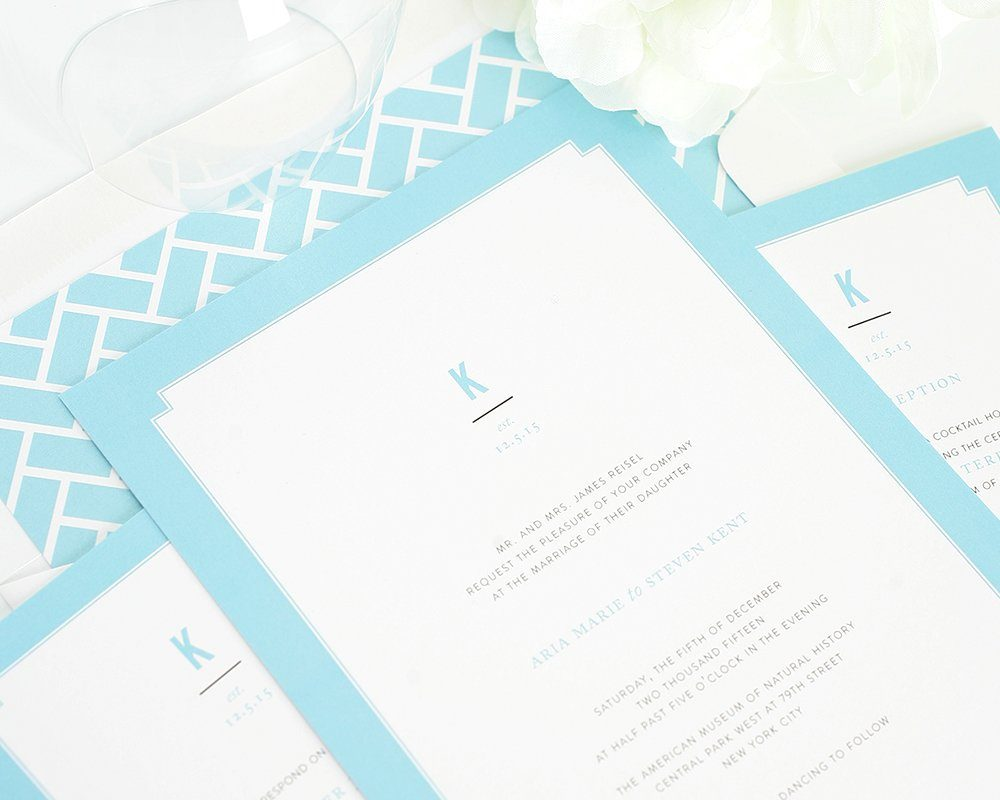Tiffany Blue Wedding Invitations With Borders
