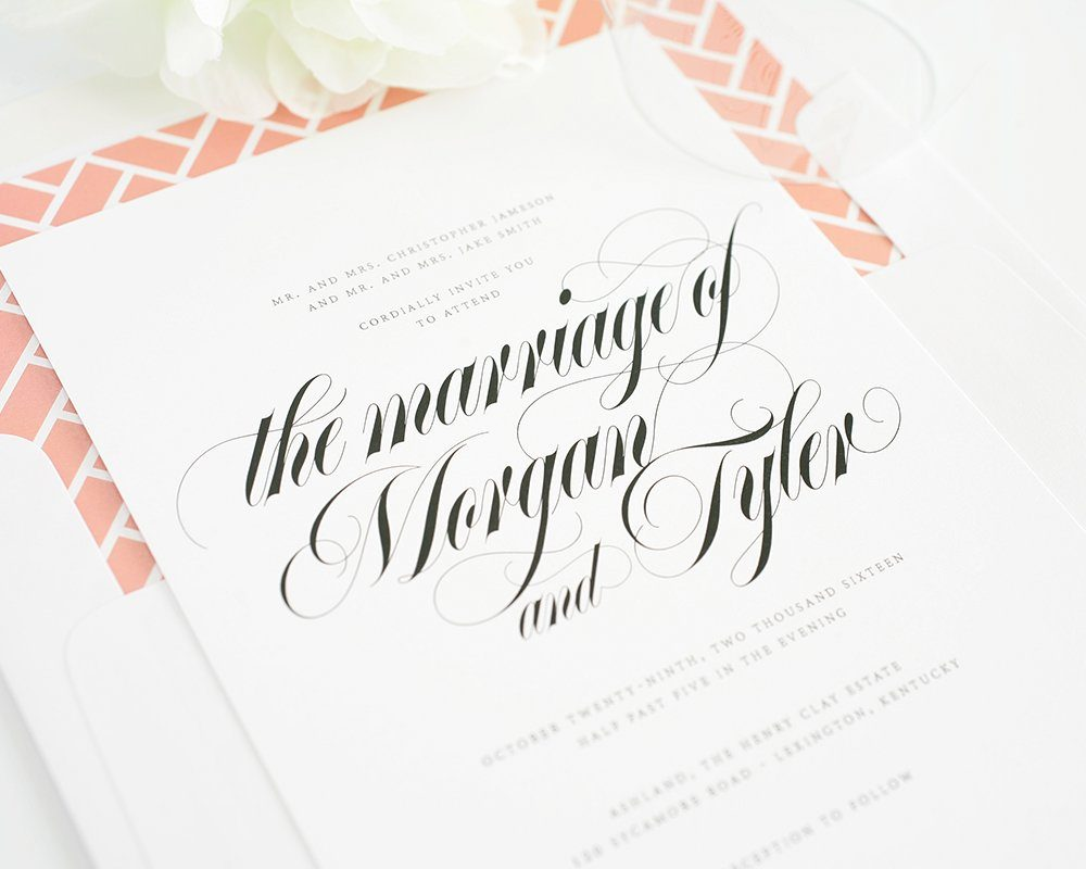 Wedding invitations with calligraphy