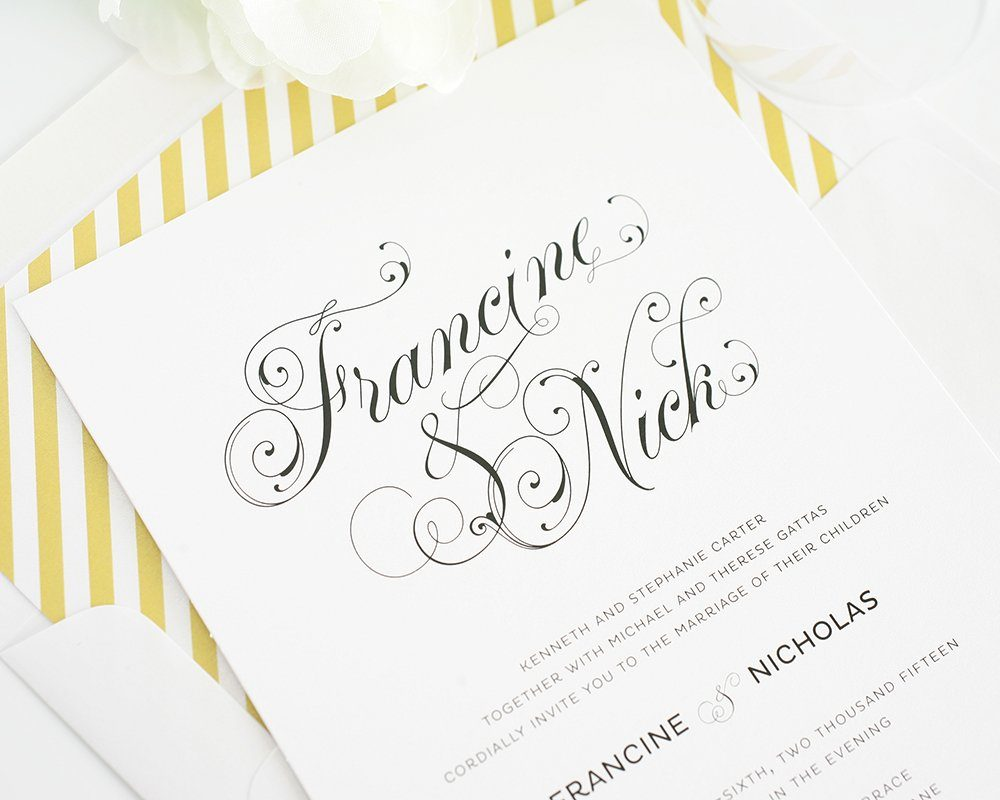 2014 wedding invitations with beautiful script font