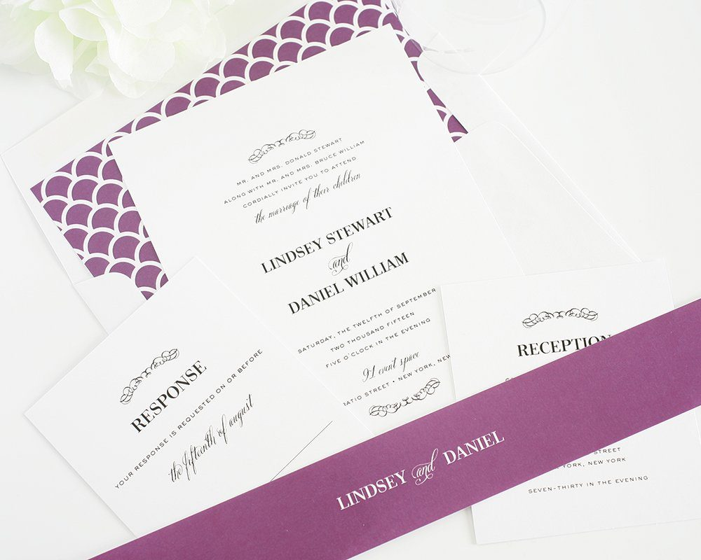 Purple wedding invitations - country chic