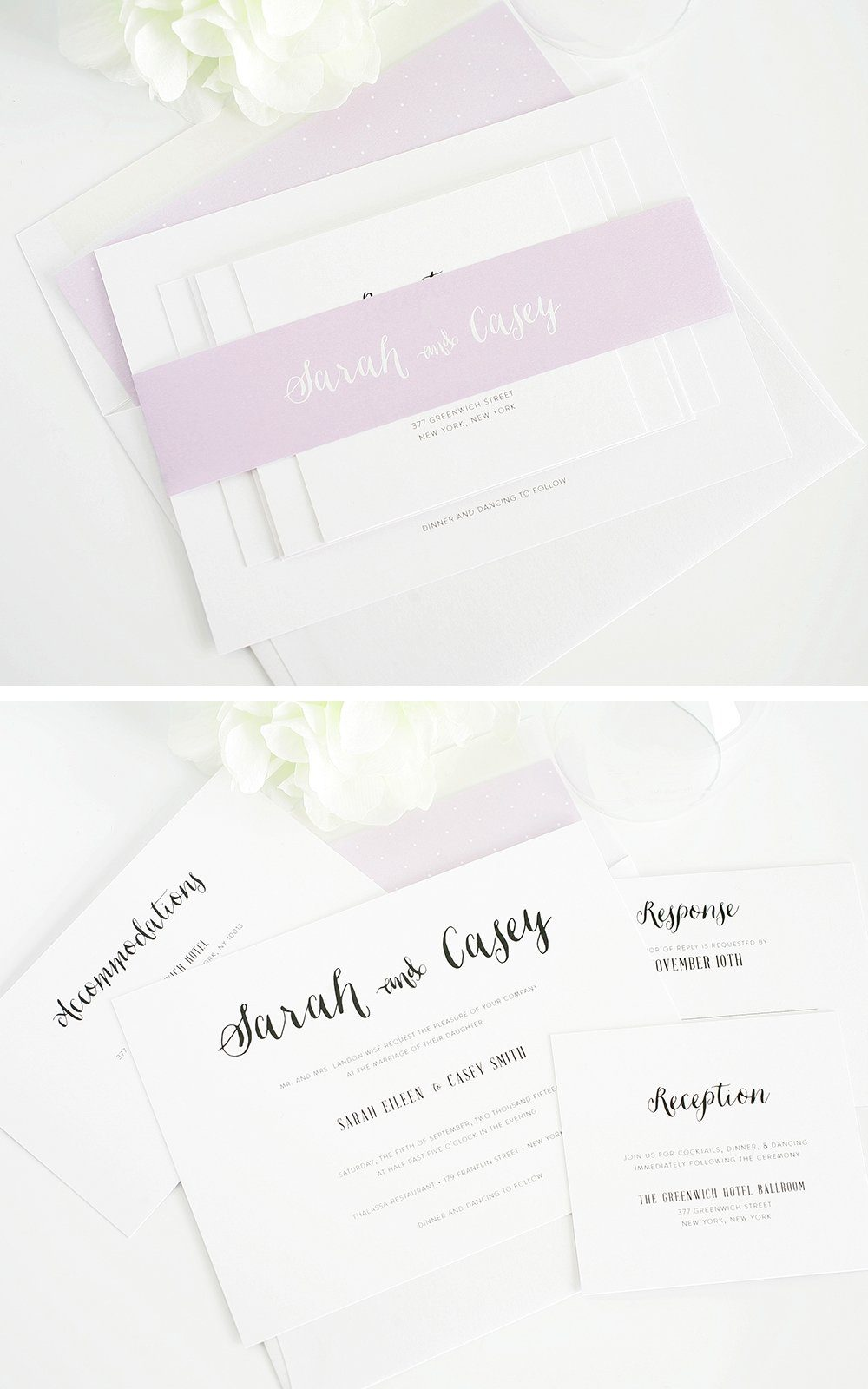 whimsical wedding invites in purple