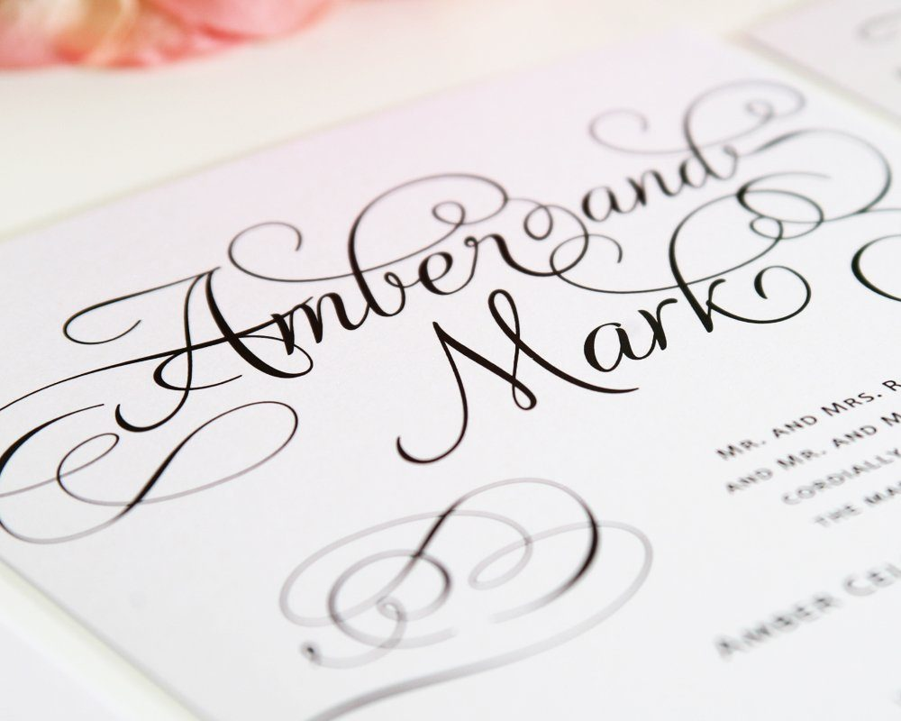 Charming script wedding invites