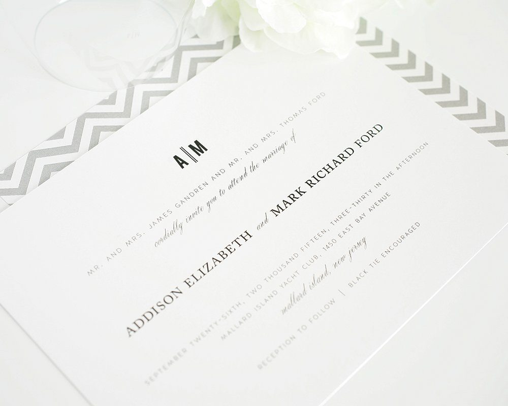 Classic wedding invitations with chevron