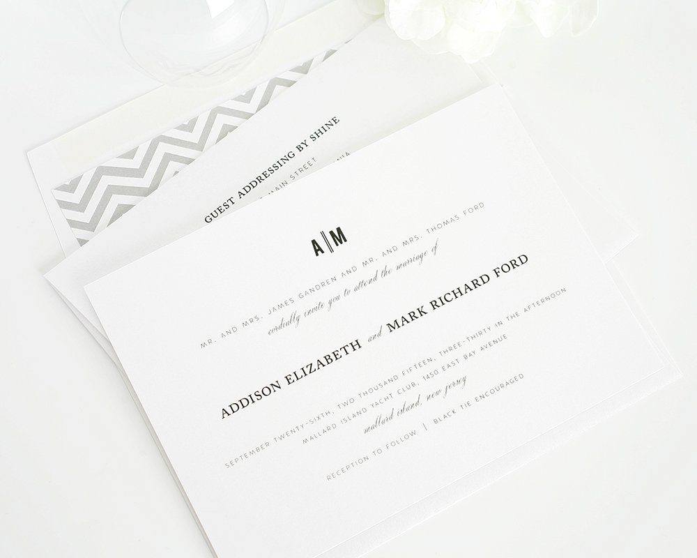 Elegant wedding invitations with chevron