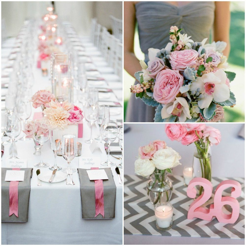 Gray and pink wedding inspiration board